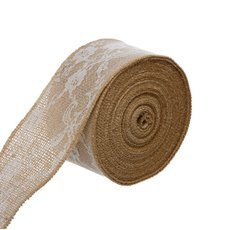 Jute Ribbons - Burlap Lace Ribbon Sewn Edge Natural (60mmx10m)