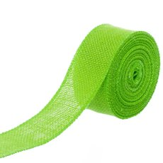 Jute Ribbons - Jute Roll Sewn Edge Lime (50mmx10m)