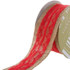 Jute Ribbon with Cotton Lace Red (60mmx10m)