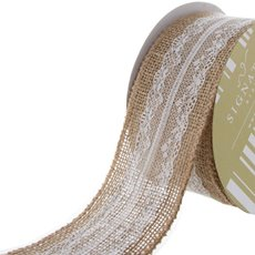 Jute Ribbon with Cotton Lace White (60mmx10m)