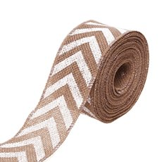 Natural Jute Ribbon Chevron Beige and White (6.35cmx10m)