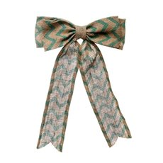 Jute Bow with Chevron Pattern Tiffany Blue (25x35cmH)