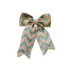 Jute Bow with Chevron Pattern Tiffany Blue (14x18cmH)
