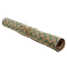 Jute Roll with Chevron Pattern Tiffany Blue (50cmx1.8m)