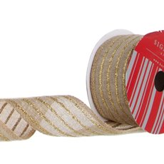 Ribbon Poly Jute Glitter Stripes Gold (50mmx10m)