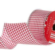 Ribbon Gingham with Silver Thread Red (60mmx10m)