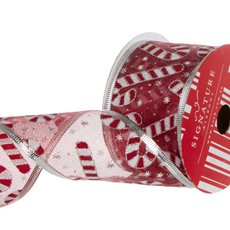 Ribbon Christmas Candy Cane Metallic Mesh Red (60mmx10m)