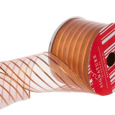 Metallic Ribbons Plain - Ribbon Metallic Mesh Stripes Copper (60mmx10m)