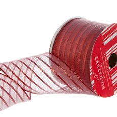 Ribbon Metallic Mesh Stripes Red (60mmx10m)