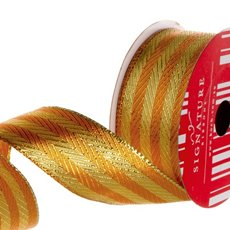 Ribbon Metallic Two Tone Stripes Gold Copper (40mmx10m)