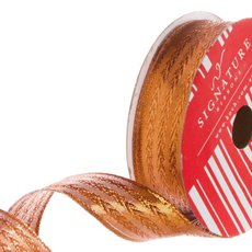 Ribbon Metallic Woven Herringbone Pattern Copper (25mmx10m)
