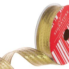 Ribbon Metallic Woven Herringbone Pattern Gold (25mmx10m)