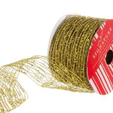 Ribbon Open Weave Metallic Net Gold (60mmx10m)