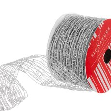 Ribbon Open Weave Metallic Net Silver (60mmx10m)