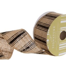 Jute Ribbons - Ribbon Jute Multi Stripes Black Wired Edge (60mmx10m)