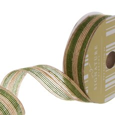 Ribbon Jute Double Stripes Moss (25mmx10m)