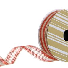 Ribbon Jute Double Stripes Red (25mmx10m)