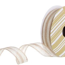 Ribbon Jute Double Stripes White (25mmx10m)