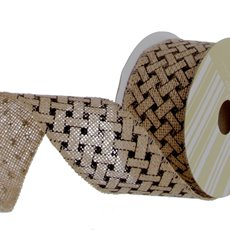 Ribbon Jute with Woven Print Black (60mmx10m)