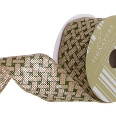 Ribbon Jute with Woven Print Moss (60mmx10m)