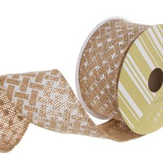 Ribbon Jute with Woven Print White (60mmx10m)