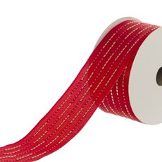 Ribbon Satin with Stitch (40mmx18.2m) Red/Gold