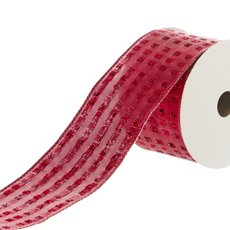 Ribbon Metallic with Squares (50mmx9.1m) Red