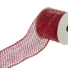 Ribbon Metallic Wire Mesh (60mmx9.1m) Red
