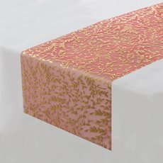 Reception Decoration - Table Runner Organza Hot Stamp Leaf (30cmx2mt) Red/Gold