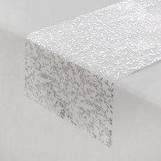 Table Runner Organza Hot Stamp Leaf (30cmx2mt) White/Silver