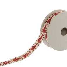Ribbon Cotton with Christmas Tree (20mmx9.1m) Red/Cream