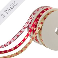 Ribbon Satin Stars 3 pack (10mmx9.1m) Red White Gold