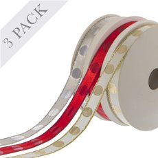 Ribbon Satin Dots 3 pack (10mmx9.1m) Red Silver Gold