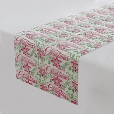 Table Runner Satin with Christmas Print (30cmx2mt) White