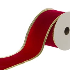 Ribbon Velvet with Sonic Edge (50mmx9.1m) Red