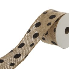 Ribbon Jute with Dots (50mmx4.5m) Natural/Black