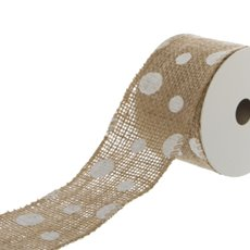 Ribbon Jute with Dots (50mmx4.5m) Natural/White