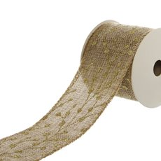Ribbon Natural Linen with Gold Glitter Blossoms (60mmx9.1m)