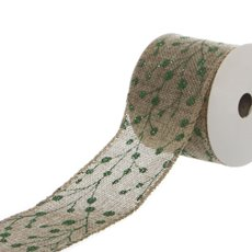 Ribbon Natural Linen with Green Glitter Blossoms (60mmx9.1m)