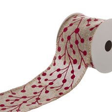 Ribbon Natural Linen with Red Matte Blossoms (60mmx9.1m)
