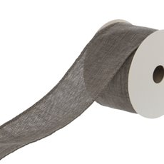 Cotton & Linen Ribbons - Ribbon Plain Linen with Glitter Flecks Grey Wried(50mmx9.1m)