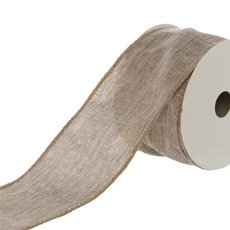 Cotton & Linen Ribbons - Ribbon Plain Linen Glitter Flecks Taupe Wired (50mmx9.1m)