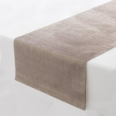 Reception Decoration - Linen Runner Roll with Glitter Flecks Taupe (30cmx180cm)