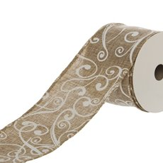 Ribbon Linen with White Swirls (60mmx9.1m) White