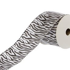 Satin Ribbons - Ribbon Satin Zebra Print Black White (60mmx10m)