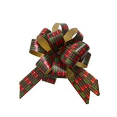 Ribbon Pull Bow Pompom 5 Pk Tartan (18mmx8.75cmD) Red/Green