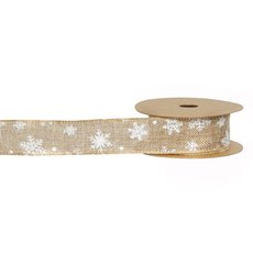 Christmas Ribbons & Bows - Ribbon Faux Jute Snowflake Natural (40mmx10m)