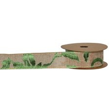 Jute Ribbons - Ribbon Faux Jute Flower Metallic Green (40mmx10m)