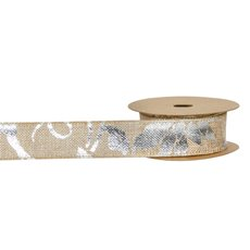 Christmas Ribbons & Bows - Ribbon Artificial Jute Flower Metallic Silver(40mmx10m)