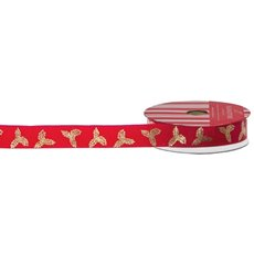 Christmas Ribbons & Bows - Ribbon Grosgrain Xmas Leaf Red Gold (20mmx10m)